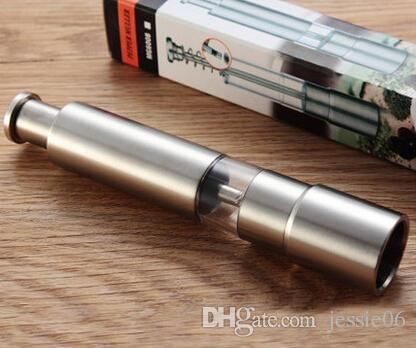연마로드 고품질 은빛 엄지 손가락 푸시 소금 스테인레스 스틸 페퍼 그라인더 스파이스 소스 밀스 도구 가젯 무료 DHL 선물