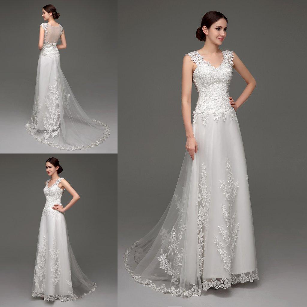Barato Nuevos vestidos de novia de encaje en stock V Cuello Ilusión Volver Apliques Playa Vestidos de novia 2018 Vestidos de Novia Diseñador Vestido de novia