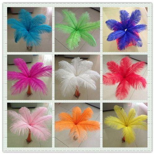 Envío gratis 10 piezas lote Pluma de avestruz hermosa de alta calidad 50-55 cm / 20-22 pulgadas U Elija color Decoración de centro de mesa de boda