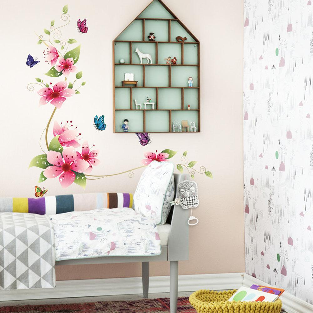 Flower Butterfly Wall Stickers Living Room Flower Wall Decal Bedroom ...