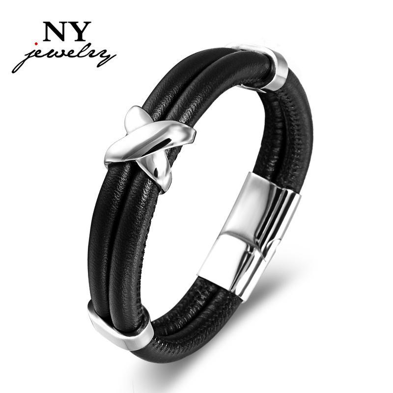 Homens do vintage pulseira pulseira de couro real mens pulseira de aço inoxidável legal jóias