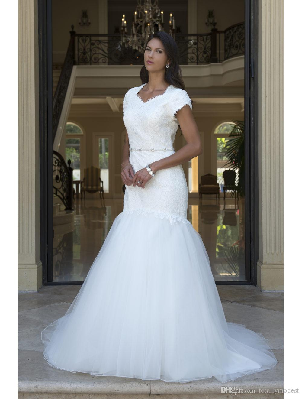 Fit and Flare Long Modest Wedding Dresses With Tulip Sleeves Lace Top Tulle Skirt LDS Temple Bridal Gowns With Short Train Custom Made
