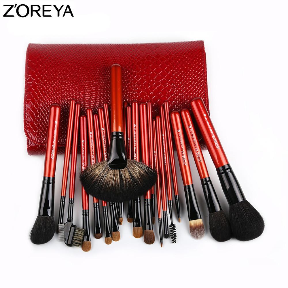 Zoreya 2017 красота 21 шт. высокое качество Соболь волос макияж кисти набор вентилятор пудра тени для век смешивание губ кисти инструмент