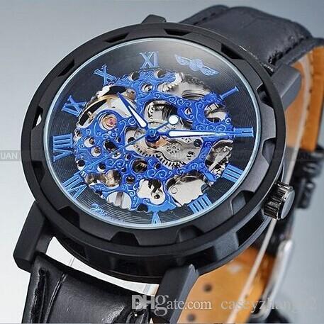 Zwycięzca 2019 Nowych Mechanicznych Mężczyzn Czarny Kolor Szkielet Sukienka Zegarek Darmowa Wysyłka Marka Moda Luksusowy Casual Watch