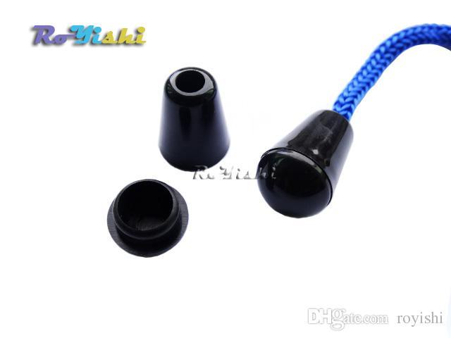 100PCS Bell Stopper med lock sladd slutar lås stopp plast svart växelklämma