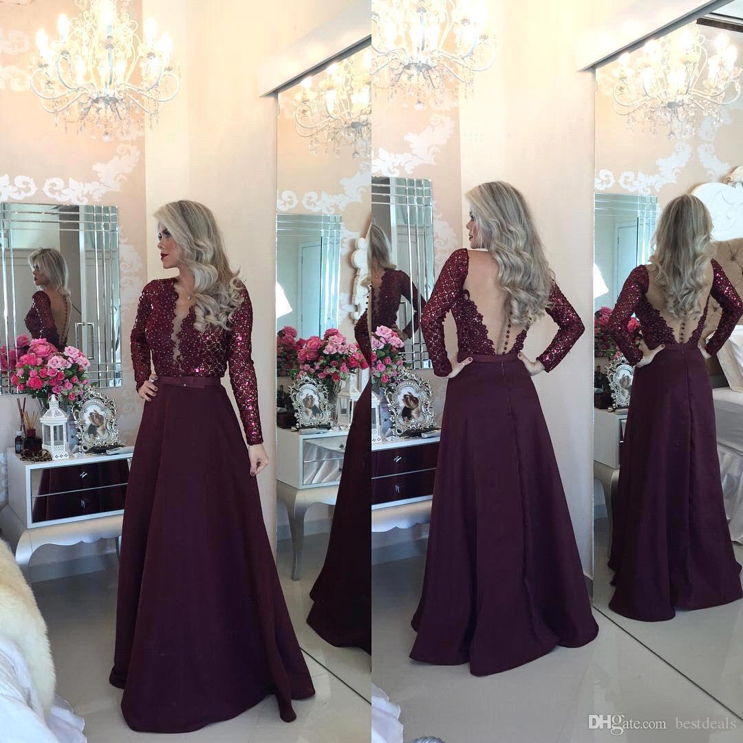부르고뉴 긴 소매 레이스 라인 이브닝 드레스 2016 급락 목선 applique 환상 다시 예복 가운 아랍어 파티 드레스 BA1924