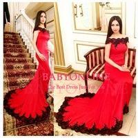 Elegant Women Boat Neck Off-Shoulder Black Lace Appliques Red Long Evening Dresses 2015 Court Train Evening Gowns Abendkleider