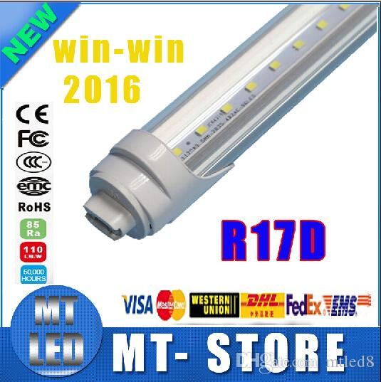 R17D t8 led tube light 8ft 45W 2.4m Fluorescent Lamp Rotating smd2835 192leds 4800lm 85-265V Frosted/Clear Cover tubes