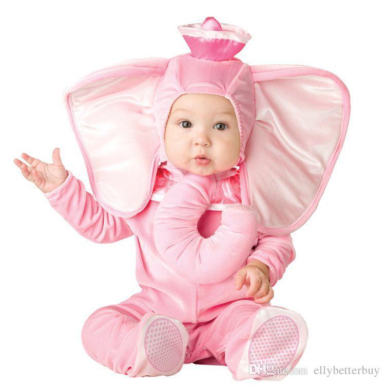 Nova Adorável animal Outfit Dia das Bruxas para o bebê crescer infantil Meninos Meninas bebê Fancy Dress Cosplay Macaco / Pink Elephant / Lion