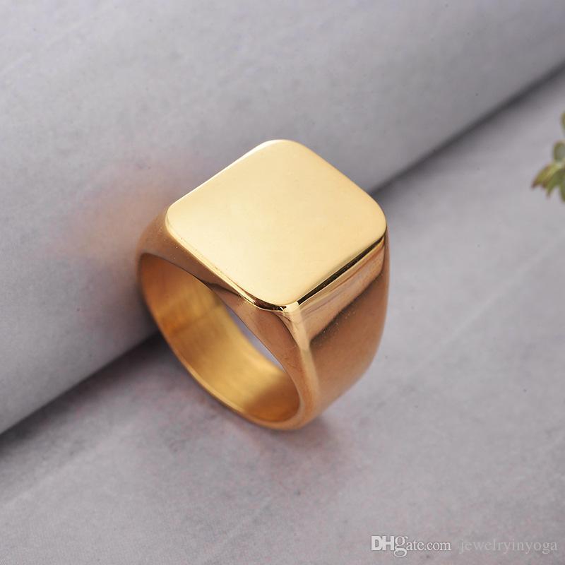 TOU TOSO Moda Takı 3 Renkler Siyah Altın Gümüş Paslanmaz Çelik Pürüzsüz Titanyum Halka Kare Şekli Boyutu 7.8.9.10.11.12 Erkek Yüzük