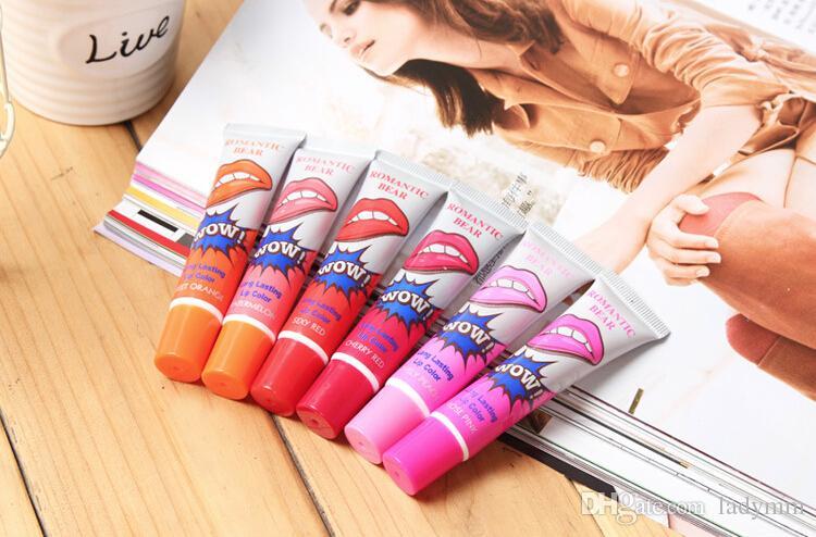 Brand New Lip Gloss Staccare per 24 ore Nessuna macchia Marine Collagene Rossetto Balsamo Pianta Orso romantico Trucco Idratante Maschera per labbra 6 colori