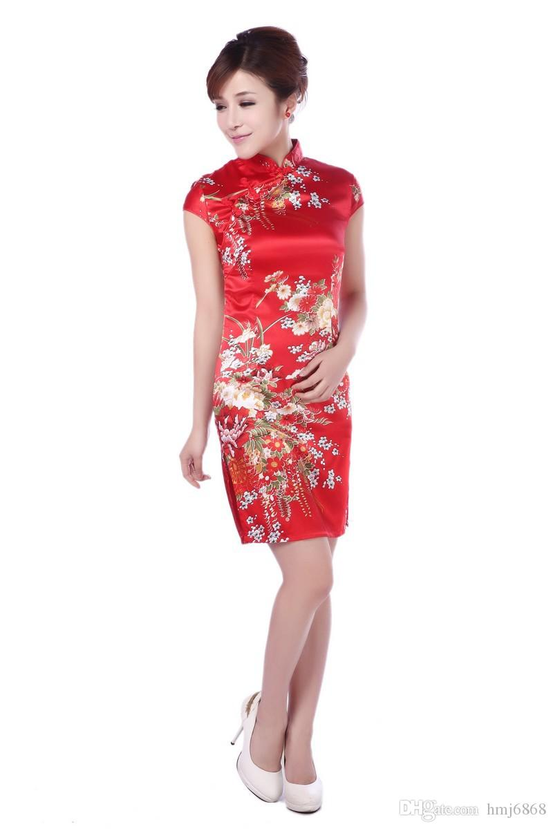 Sexy Traditional Chinese Dress Women Short Sleeve Flowers Chinese ...