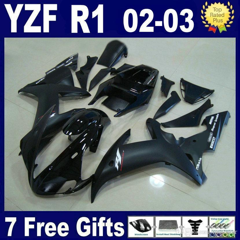 Platte matte zwarte carrosserie voor Yamaha R1 2002 2003 Verklei Kit YZFR1 YZF R1 spuitgieten 02 03 Y1229