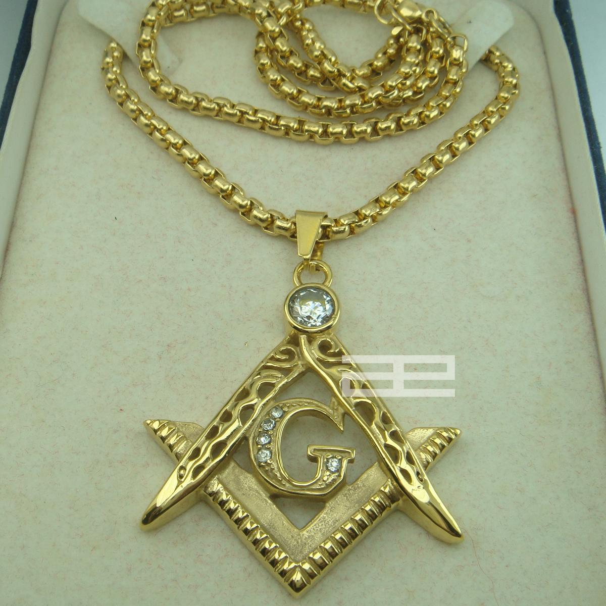 Męskie 18k Gold Filed Freemasonry Masonic Mason Wisiorek Bezpłatny łańcuch Naszyjnik N214