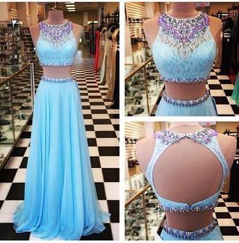 Light Blue two piece Prom Dresses with Bling Crsytal Sexy vestidos de festa A Line Floor Length Sheer Neck Long Chiffon party Gowns