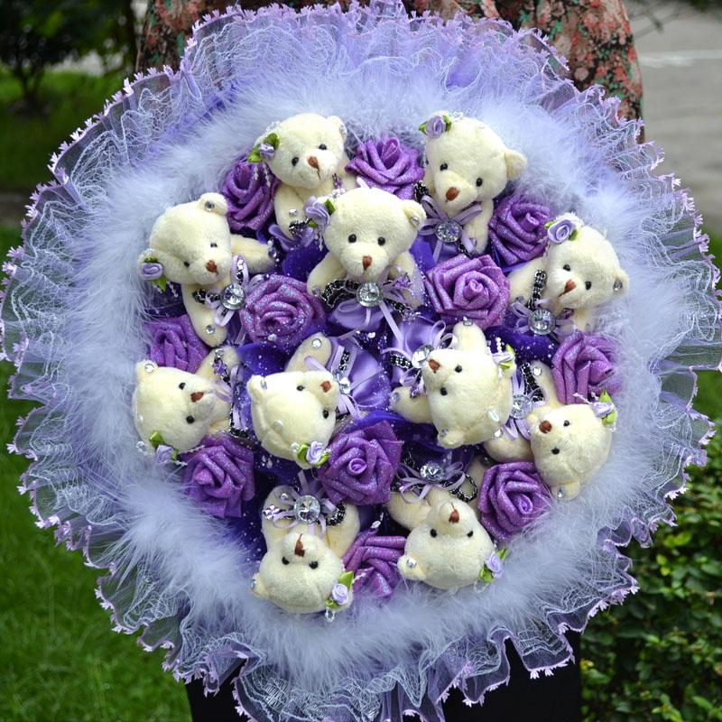 Cartoon Bouquet Bear Flowers Graduation Gift Birthday To Send ...