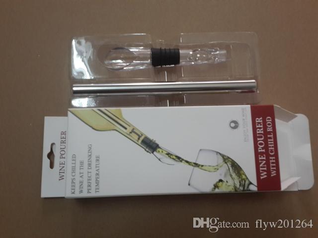 30pcs / lot Expédition rapide Écologique En Acier Inoxydable Ice Wine Chiller Vin Cool Cooling Stick Bâton, 20pcs / lot