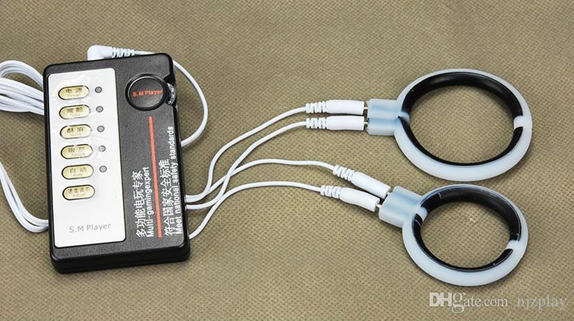 2021Elektrische Verzögerung, Penis Ring Sex Shock Cock Elektrovergrößerer Ring, Elektroschockzeit Butt Spielzeug Stimulation Massage Analstecker Kits PLCCB
