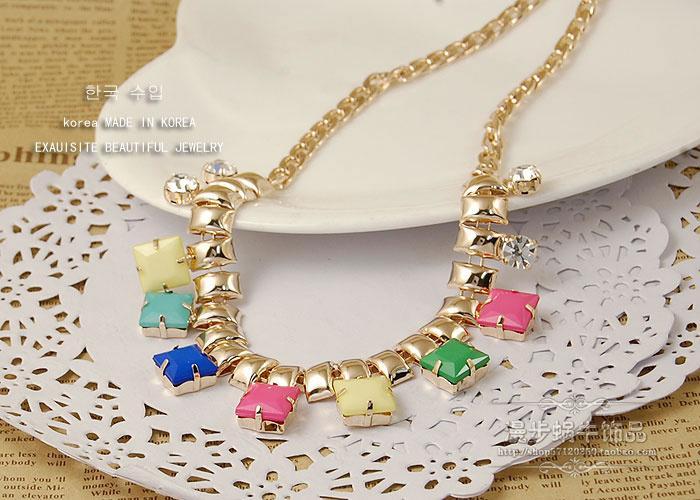 collar de dama de cadena de más piezas de cristal (2,6 * 1,2 cm) color (38 extra 6 cm) (woniu152l)