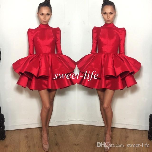 2020 짧은 파티 드레스 레드 긴 소매 계층 뻗 마이클 코스텔로 미니 댄스 파티 드레스 여자 어린이 홈 커밍 칵테일 드레스