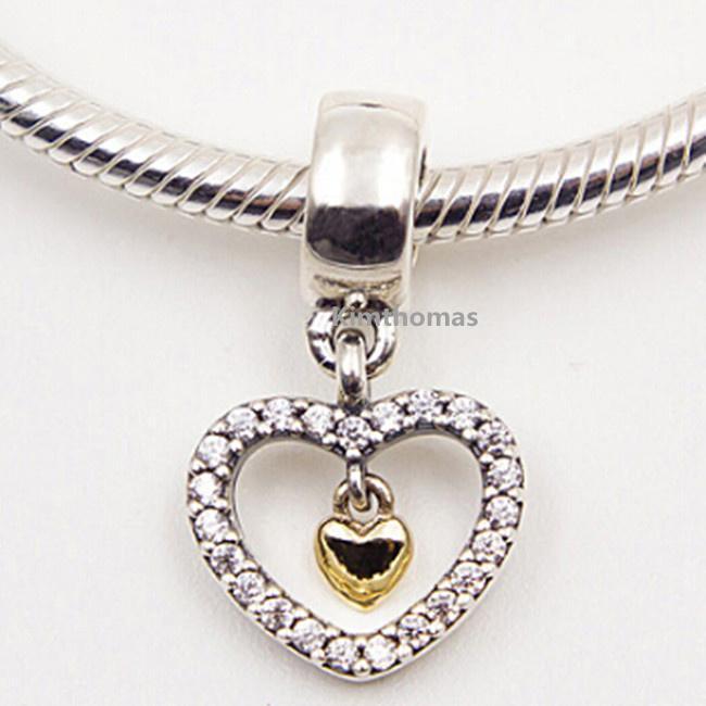 925 Sterling Silver & 14K Real Gold Forever in My Heart Dangle Charm Bead Fits European Pandora Jewelry Bracelets Necklaces & Pendants