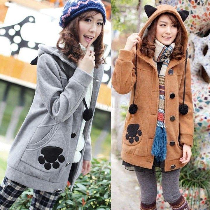 2 Renkler yeni kış güzel hoody sevimli kazak kadın kız tavşan earfeet Kadınlar kazak ceket artı boyutu Gri Deve 51
