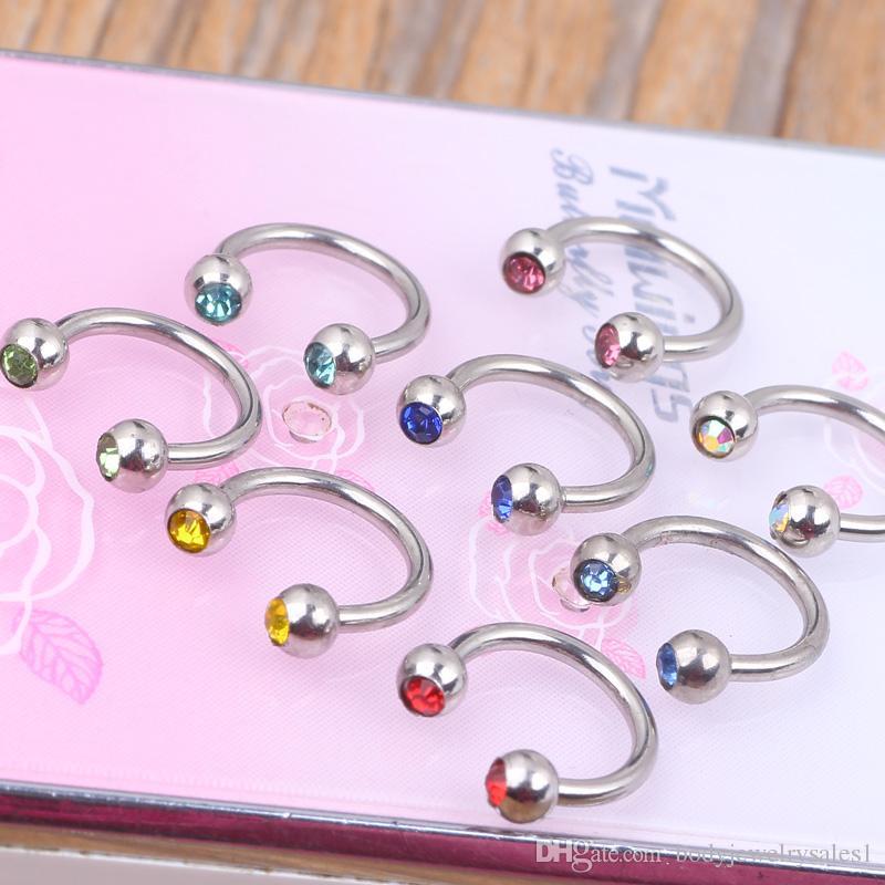 Überzogener piercing Schmuck 100pcs / lot 316l mischte 10 Farben Hufeisenring-Nasenringbolzen
