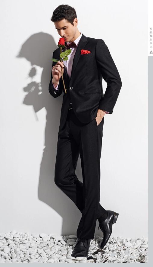 새로운 패션 트렌드 맞춤형 블랙 한 버튼 남자 정장 신부 신랑 턱시도 재킷 + 바지 잘 생긴 남자 양복