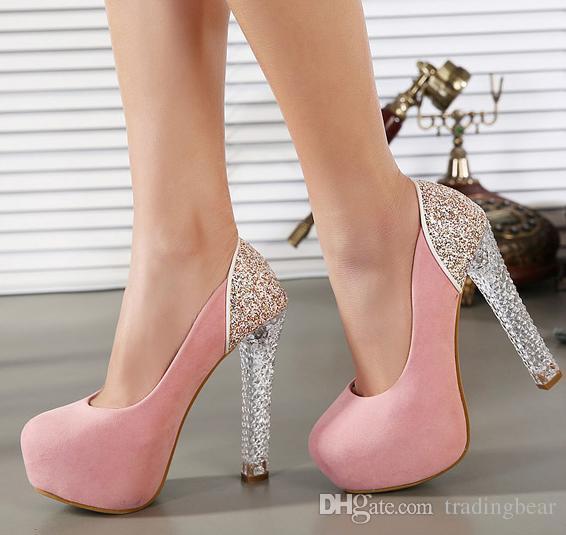 Lumineux bébé rose du glorieux Or Sequin Hauts talons Mary Jane Shoes Strappy