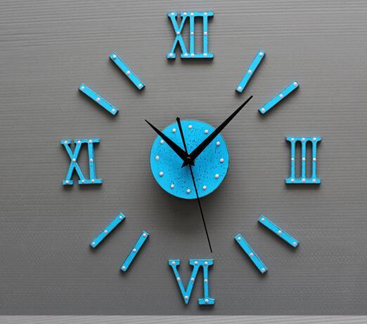 الكلاسيكية السوداء DIY ساعة الأزياء الإبداعية على مدار الساعة ديي برشام الساعات فائقة الهدوء عندما ملصقات الحائط