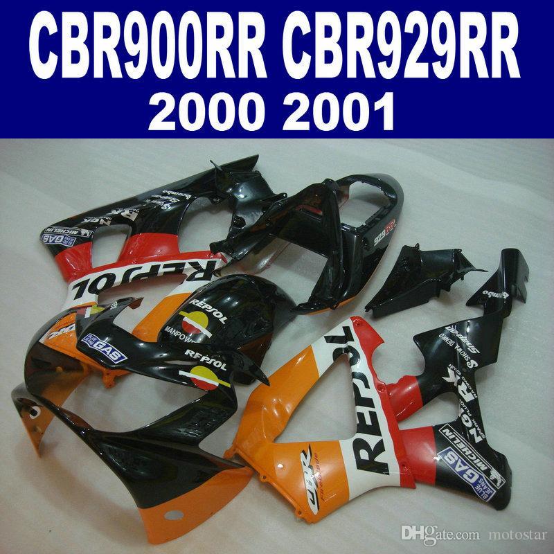 High quality fairing kit for HONDA CBR900RR CBR929 2000 2001 bodykits CBR 929 RR CBR929RR orange black REPSOL fairings set HB11