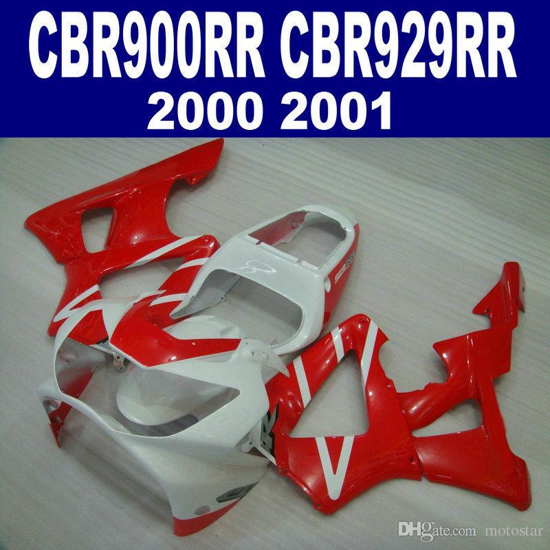 High quality fairing kit for HONDA CBR900RR CBR929 2000 2001 bodykits CBR 929 RR CBR929RR red white fairings set HB2