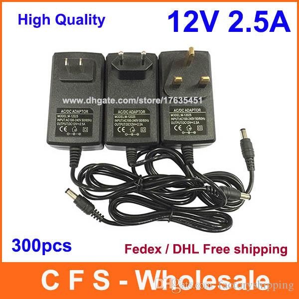 300pcs AC DC 12V 2.5A Power adapter charger Power Supply 5.5mm x 2.5mm US / EU / UK Fedex Free shipping
