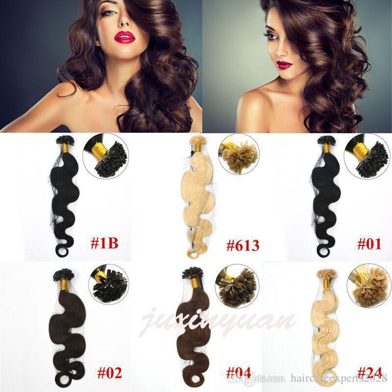Wholesale- 1 g / s 100 g / pacco 14 '' - 24 '' 100% capelli umani u punte estensioni dei capelli Remy prezzo di fabbrica indiano chiodo dell'onda del corpo u Consigli capelli dhl libero