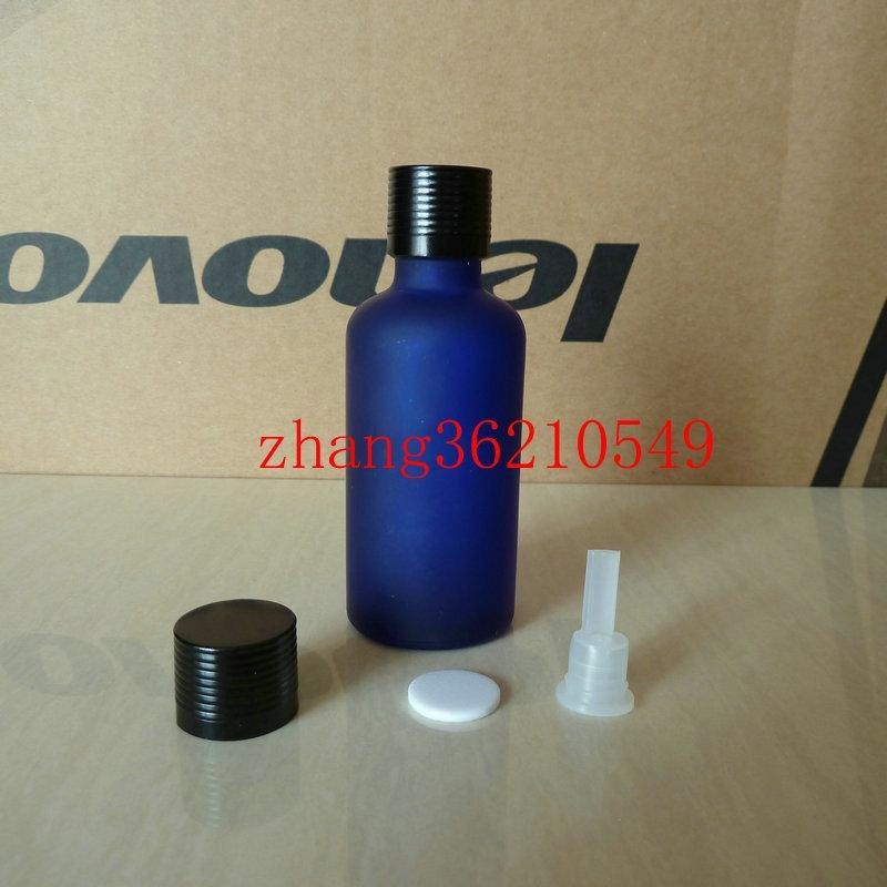 50ml 블루 서리로 덥은 유리 에센셜 오일 병 반짝이는 검은 색 알루미늄 캡. 오일 바이알, 에센셜 오일 용기