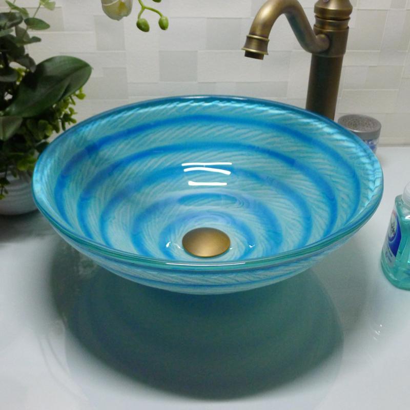 Bathroom tempered glass sink handcraft counter top round basin wash basins cloakroom shampoo vessel bowl HX006
