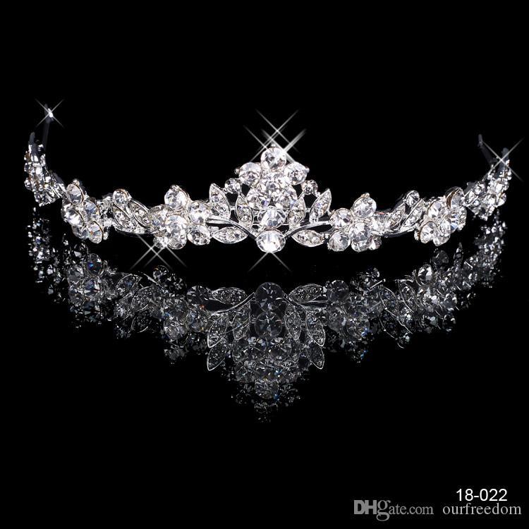 18022 Free Shipping Rhinestone Crystal Wedding Party Prom Homecoming Crowns Band Princess Bridal Tiaras Hair Accessories Fashion Custom Made