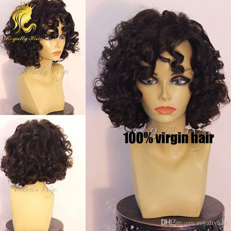 Short style! natural black short curly bob wig curly full lace human hair wigs bob lace front wig for african american black women