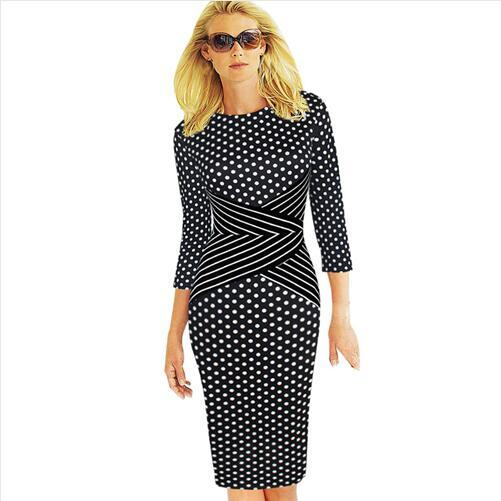 Lcw New Fashiong Womens Elegant New Summer Colorblock Striped Tunic Wear To Work Business Party Cocktail Pencil Sheath Dress