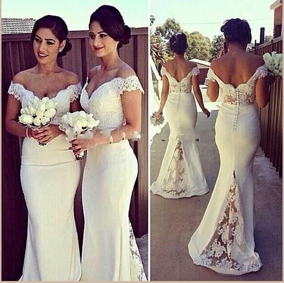 2016 отвязаться от плеча кружева весенние свадебные платья русалка с короткими рукавами атласная спинки длиной до пола длинные свадебные платья для гостей BO7388