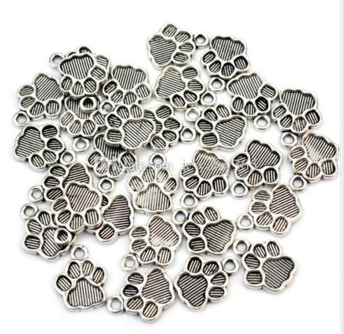 200 pçs / lote Antigo Banhado A Prata Da Cópia Da Pata Liga Encantos Pingentes Para Jóias diy Fazendo achados 12x15mm