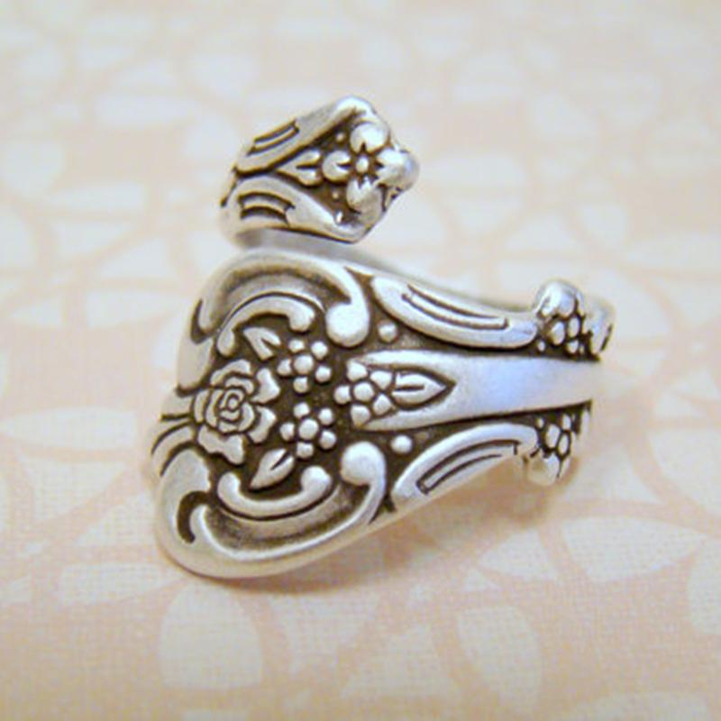 2015 New Hot Fashion Top Quality Antiqued Silver Spoon Ring, Adjustable Ring, Thumb Ring, Spoon Ring Free Shipping