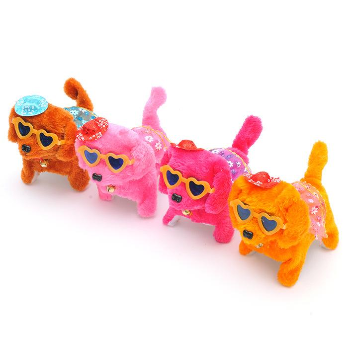Children creative back dog electric plush forward will wear skirt toy dog gift factory direct wholesale
