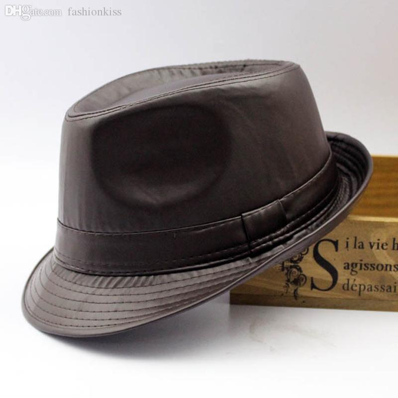 67e9912f63f9c Wholesale-Men fedora Trilby hat Black Leather Fedora Hat for Women chapeau  homme vintage jazz hats for men fedora