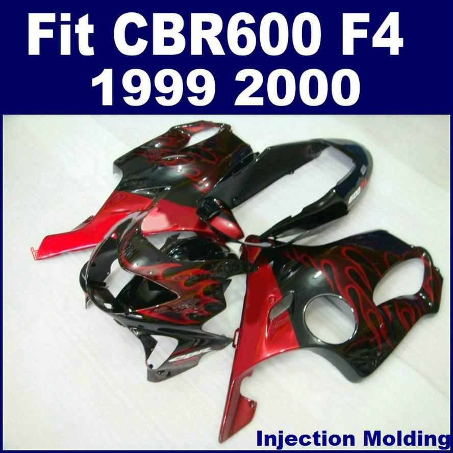 Injection molding parts for HONDA CBR 600 F4 1999 2000 red flames full fairing kit 99 00 CBR600 F4 fairings YAVFB