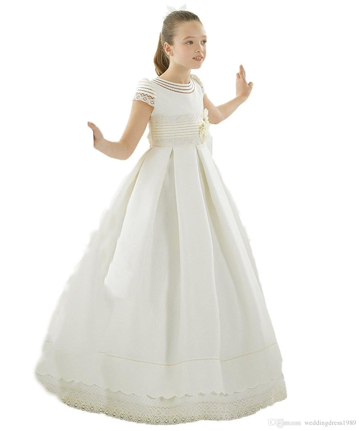 2019 White Princess Capped Lace Girls Pageant Dresses Girl Communion Dress Ball Gown Kids Formal Wear Flower Girls Dresses for Wedding