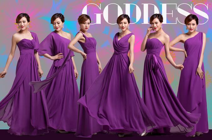 2019 Mor Nedime Elbiseler 6 Stilleri Sıkı Pleats Zarif Ruffles Şifon Uzun Tasarımcı Artı Boyutu Kat-Uzunlukta Nedime Parti Elbiseler