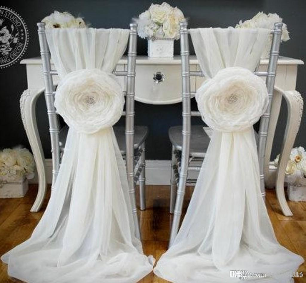 2015 white wedding decorations chair covers sash for weddings with 2015 white wedding decorations chair covers sash for weddings with big 3d flowers chiffon wedding accessories junglespirit Choice Image