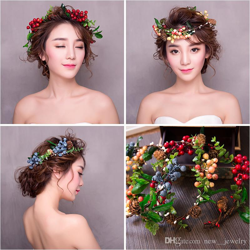 Handgemachte Braut Hochzeit Haarschmuck Brautjungfer Stirnband Bunte Blume Fruit Haarband Blumen Faerie Kleid Zubehör Haarband für Frauen