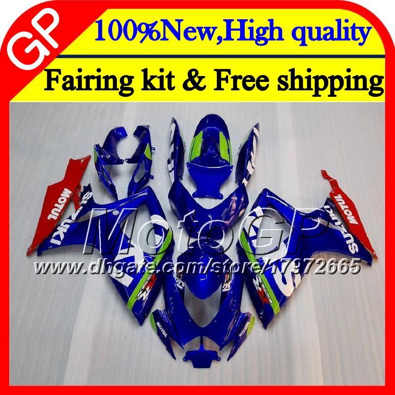 Cuerpo para SUZUKI GSX R600 K6 GSX-R750 GSXR 600 06 07 25GP9 Azul brillante GSX-R600 GSXR750 06 07 GSXR 750 GSXR600 2006 2007 Carenado de motocicletas